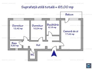Apartament 3 camere de vanzare, zona B-dul Bucuresti, 65 mp