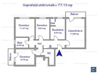 Apartament 4 camere de vanzare, zona Vest, 77.15 mp