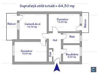 Apartament 3 camere de vanzare, zona Republicii, 64.30 mp