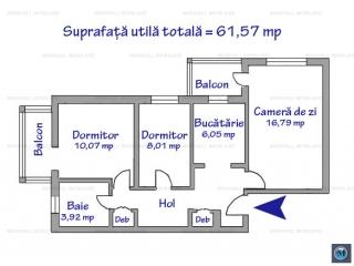 Apartament 3 camere de vanzare, zona 9 Mai, 61.57 mp