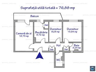 Apartament 3 camere de vanzare, zona Gheorghe Doja, 76.88 mp
