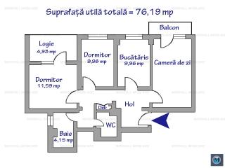 Apartament 3 camere de vanzare, zona Malu Rosu, 76.19 mp