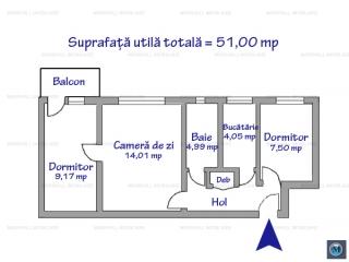 Apartament 3 camere de vanzare, zona Vest, 51 mp